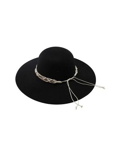 Laslusa İçten Ayarlanabilir Geniş Kenar Keçe Şapka Siyah